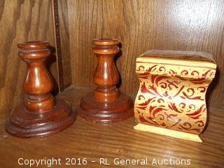 """Pair of Vintage 5"""" Tall Wood Candlesticks & Wood Box w/ Lid (Contains Incense) 4.25"""" T X 4"""" W X 3"""" D"""