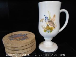 Vintage Gambel's Quail Glass & Set of 4 Stone Coasters w/ Quail Picture & Cork Bottoms