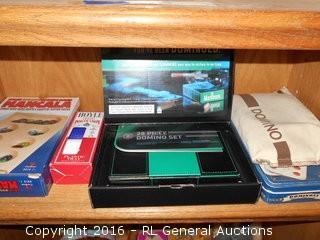 Games Lot - Marlboro Domino Set in Case, 2 Domino Sets, Mancala, Poker Chips
