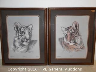 """1980 Heritage Gallery Prints by Harold Rigsby Signed - Tiger Cub Series III, Plate IV. White Tiger Cub Series III, Plate III  17"""" W X 21.5"""" T"""
