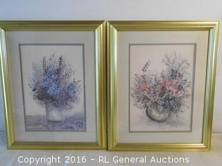 """Pair of Signed #'d Prints by """"M.Bertrand"""" #1450/1900 & 1495/1900  16"""" W X 20.5"""" T"""