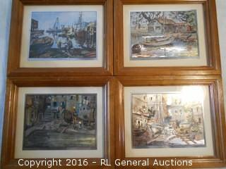 "Set of 4 Vintage Foil Etching Artwork by Lionel Barrymore 11.25"" W X 9.25"" T"