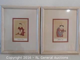"2 Print Artwork Framed 9"" W X 11"" T"