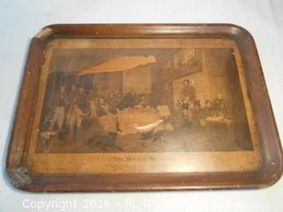 """Early 1900's Artwork on Tray """"The Melton Breakfast"""" To Rowland Errington Esq.  As-Is  23"""" W X 17"""" T"""