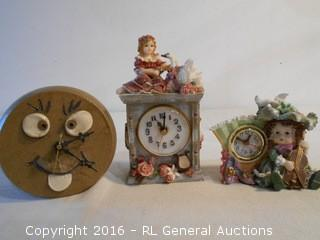 Clock Lot - 1 Pottery Signed & 2 Resin
