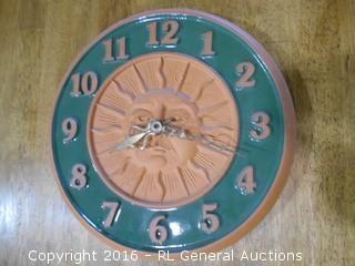 """Large Terra Cotta Clock - 12"""" Dia."""