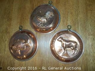 "Vintage Copper Wall Hangers 6"" Dia."