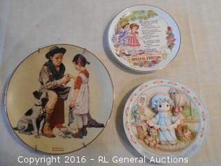 "Collector Plate Lot 1985 Norman Rockwell ""A Helping Hand"" #'d 3338 , ""Special Friends"" Heirlooms Editions by Paula, Precious Moments #'d 59305"