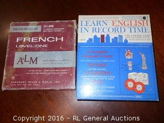 Vintage French Level One Records Lot Mint Condition & Learn English in Record Time on 4 Track Tape