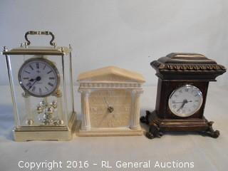 "3 Mantle Clocks - Elgin, Terragraphics, + 6-8"" Tall"