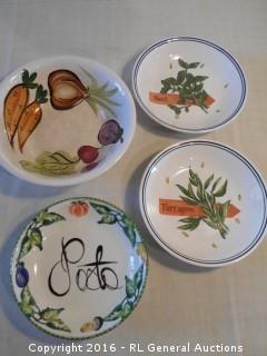 "Vintage Bowls - 10.25"" Dia. Westwood Japan, 8.5"" Dia Pasta- LaCarte Italy, (2) Pottery Barn Portugal Bowls"