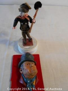 "1964 Bill Sikes - Chalk Bust Signed - Bossons England 6"" Tall & Music Box Figurine Hobo 8.5"" Tall"