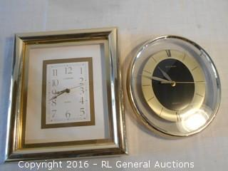 "2 Wall Clocks - Daniel Dakota 12"" Oval & Cannon 14"" Tall"