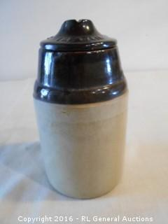 "Antique ""The Weir"" Pottery Canning Jar w/ Lid Pat. March 1st 1892"