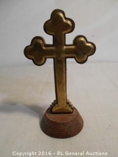 "Vintage Wood Cross w/ Brass Plate 7.5"" Tall"