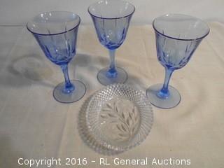 Vintage Cut Glass Candy Dish & 3 Blue Stemware Glasses