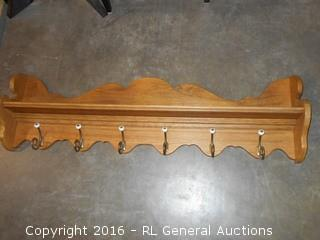 "Large Oak Entryway Coat Hanger w/ Shelf 53.5"" L X 15"" T X 7"" D"