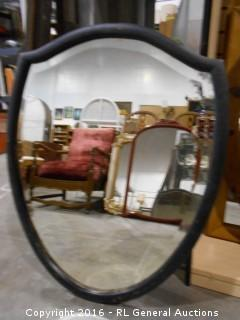 "Shield Shaped Vintage Beveled Mirror 26"" W X 32"" T"