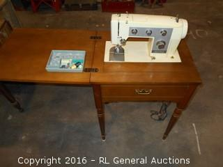"Vintage Sears Kenmore Sewing Machine in Cabinet w/ Leg Peddle & Extras 22"" W X 17.5"" D X 31"" T"
