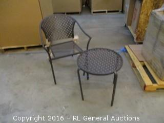 Outdoor Table and Chair/ Chair Leg bent