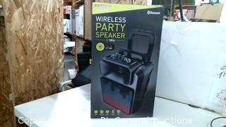 Sharper image Wireless Party Speakers Powers on Please Preview