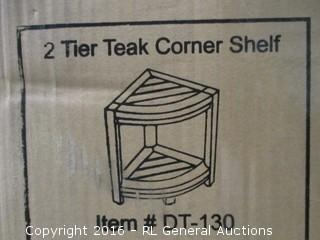 2 Tier Teak Corner Shelf
