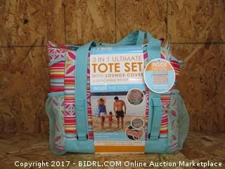 3 in 1 Ultimate Tote Set with Lounge Cover & Detachable Wet/Dry Pouch