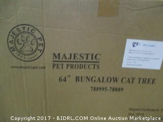 Majestic Pet Products 64 inch Cream Bungalow Cat Furniture Condo House Scratcher Multi Level Pet Activity Tree (Retail $129.00)