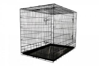 Allmax 3-Door Folding Metal Dog Crate with Steel Tray, Large, Black (Retail $51.00)