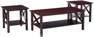 King's Brand 3 Pc. Cherry Finish Wood X Style Casual Coffee Table & 2 End Tables Occasional Set (Retail $139.00)