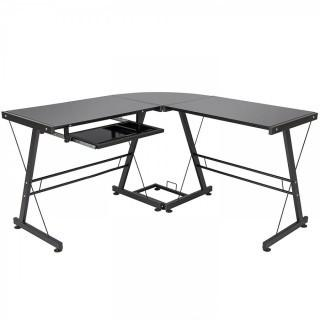 Best Choice Products L-Shape Computer Desk PC Glass Laptop Table Workstation Corner Home Office Black (Retail $109.00)