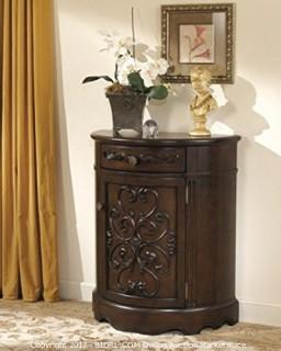 Ashley Furniture Signature Design - Norcastle Accent Cabinet - Antique Style - Semi Circle - Dark Brown (Retail $317.00) - ACCESSORIES NOT INCLUDED