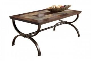 Ashley Furniture Signature Design - Zander Rectangular Cocktail Table - Sturdy Metal Base - Vintage Casual - Medium Brown (Retail $120.00) - ACCESSORIES NOT INCLUDED