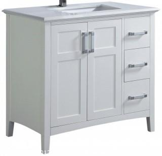"Simpli Home Winston 36"" Bath Vanity with Quartz Marble Top, White (Retail $798.00)"