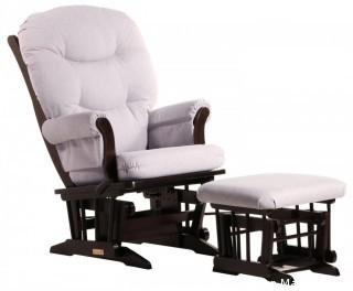 Dutailier Sleigh Glider-Glide/Lock/Recline with Nursing Ottoman, Espresso/Light Grey (Retail $520.00)