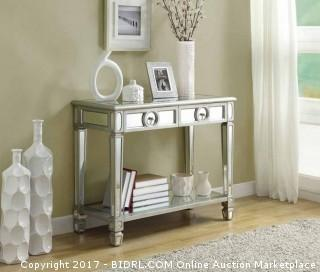 Monarch Specialties Length Sofa Console Table with 2-Drawer, 38-Inch, Mirrored (Retail $367.00) - ACCESSORIES NOT INCLUDED