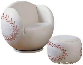 Acme 2-Piece All Star Set Chair and Ottoman, Baseball (Retail $224.00)