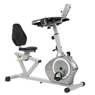 Sunny Health & Fitness Magnetic Recumbent Desk Exercise Bike, 350lb High Weight Capacity, Monitor (Retail $345.00)
