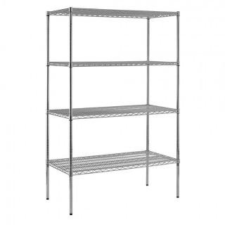 "Sandusky Lee WS482474-C Chrome Steel Wire Shelving, 4 Adjustable Shelves, 800 lb. Per Shelf Capacity, 74"" Height x 48"" Width x 24"" Depth, 4 Shelves (Retail $158.00)"