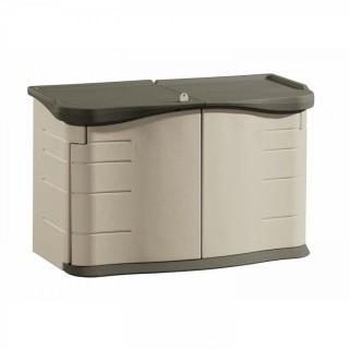 Rubbermaid Outdoor Split-Lid Storage Shed, 18 cu. ft., Olive/Sandstone (Retail $171.00)