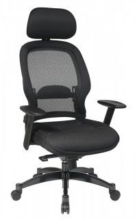 SPACE Seating AirGrid Dark Back and Padded Black Mesh Seat, 2-to-1 Synchro Tilt Control, Adjustable Arms and Tilt Tension Nylon Base Managers Chair with Adjustable Headrest (Retail $326.00)