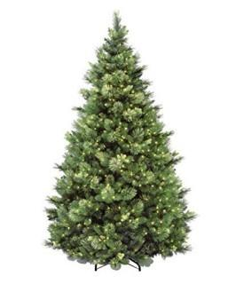 National Tree 7.5 Foot Carolina Pine Tree with Flocked Cones and Clear Lights, Hinged (Retail $270.00)