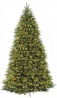 National Tree 12 Foot Dunhill Fir Tree with Clear Lights, Hinged