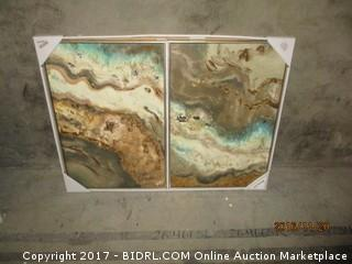 World Market  Tea Lava Flow Diptych Gold Frame MSRP $179.99 Please Preview