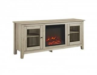"WE Furniture 58"" Wood Media TV Stand Console with Fireplace - White Oak (Retail $289.00)"