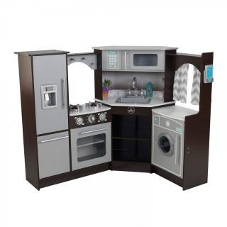 KidKraft Ultimate Corner Play Kitchen with Lights & Sounds, Brown/White (Retail $200.00)