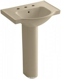 KOHLER K-5266-8-33 Veer Pedestal Bathroom Sink with 8-Inch Widespread Faucet Holes, 24-Inch, Mexican Sand (Retail $354.00)