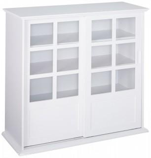 Kings Brand Furniture Wood Curio Cabinet with Glass Sliding Doors, White (Retail $219.00)