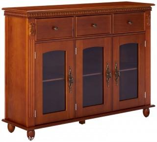 Kings Brand Furniture Wood with Glass Doors Console Sideboard Buffet Table with Storage, Walnut (Retail $261.00)