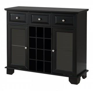 Kings Brand Furniture Buffet Server Sideboard Cabinet with Wine Storage, Black (Retail $199.00)